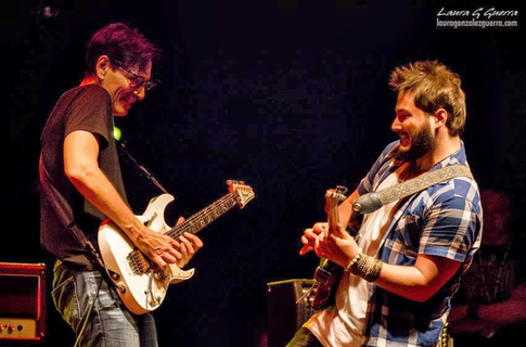 Tony Martinez (ri.) jamming with guitar legend Steve Vai
